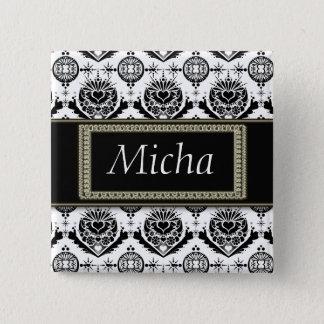 Black & White Classy Baroque Golden Monogram 15 Cm Square Badge