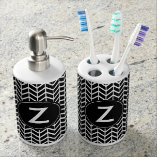 Black & White Classy Chevron Pattern Monogram Soap Dispenser And Toothbrush Holder