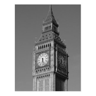 Black White Close up Big Ben Clock Tower London Postcard