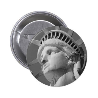 Black & White Close-up Statue of Liberty 6 Cm Round Badge