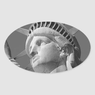 Black & White Close-up Statue of Liberty Oval Sticker