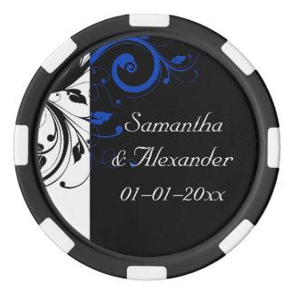 Black/White/Cobalt Blue Bold Swirl Wedding Poker Chips