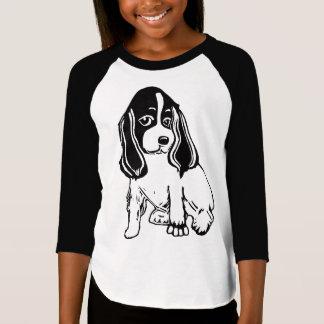 Black White Cocker Spaniel Girls' Raglan T-Shirt