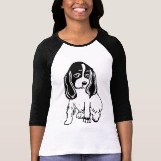 Black White Cocker Spaniel Ladies Raglan T-Shirt