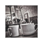 Black & White Coffee Table Small Canvas Print