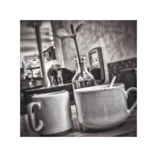 Black & White Coffee Table Small Canvas Print