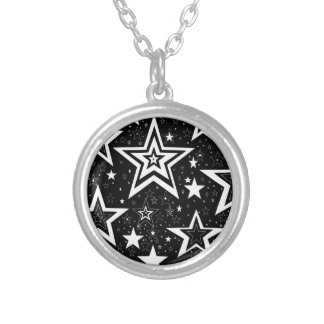 BLACK & WHITE COLLECTION ROUND PENDANT NECKLACE