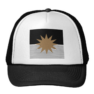 Black White Colorblock & Brown Sun Cap