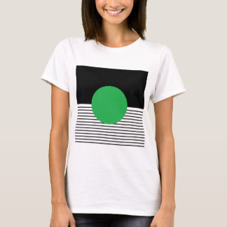 Black White Colorblock & Green Circle T-Shirt