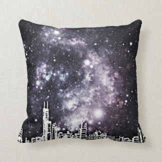 Black & White Comic Style City Skyline Starry Sky Cushion