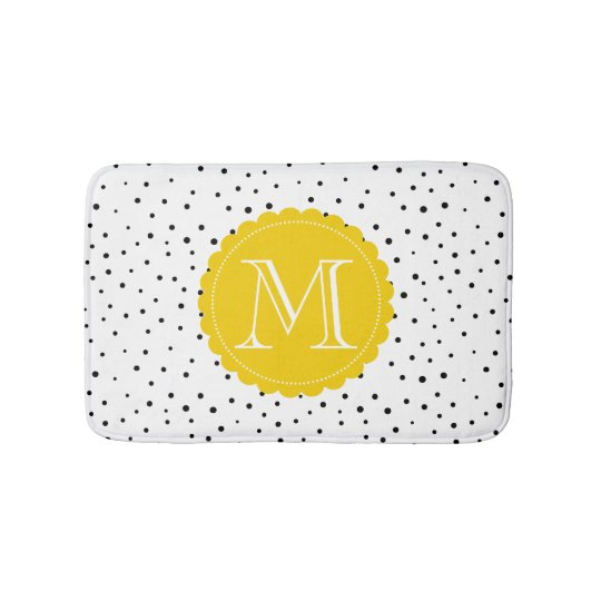 Black & White Confetti Dots Bright Yellow Monogram