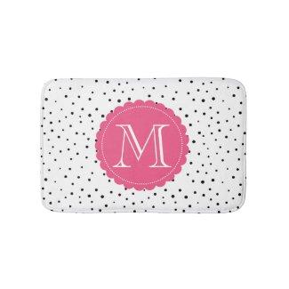 Black & White Confetti Dots Hot Pink Monogram Bath Mat
