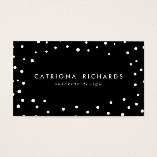 Black & White Confetti Dots Modern Business Card