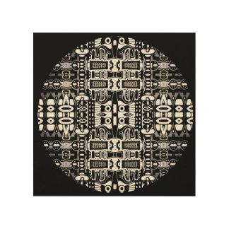Black white contemporary tribal mandala on wood wood wall art