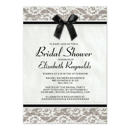 Black White Country Lace Bridal Shower Invitations