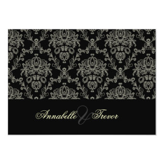 Black/white/cream damask, custom wedding card