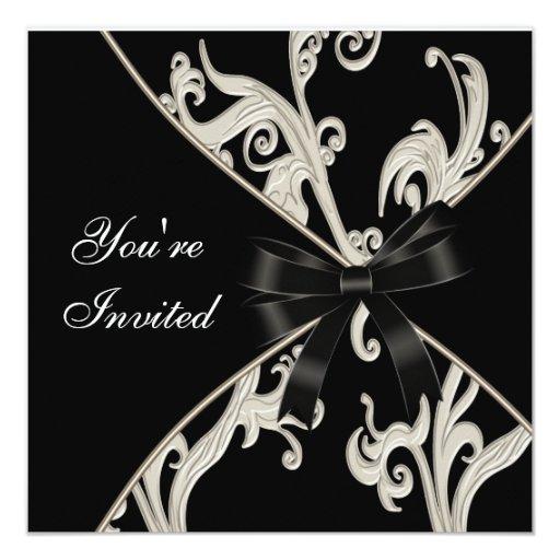 Black White Cream Swirl Party 13 Cm X 13 Cm Square Invitation Card