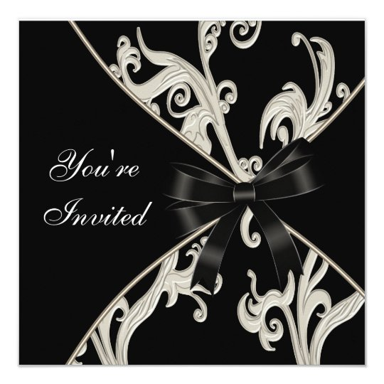 Black White Cream Swirl Party Card