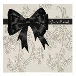 Black White Cream Swirl Party Invitation Template