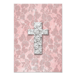 Black White Cross Girly pink Floral Lace Pattern Card