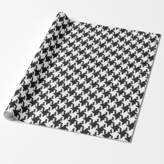 Black&white cross-stitch Houndstooth Pied-de-Poule Wrapping Paper