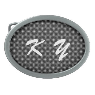 Black & White Cube Life by Kenneth Yoncich Oval Belt Buckles