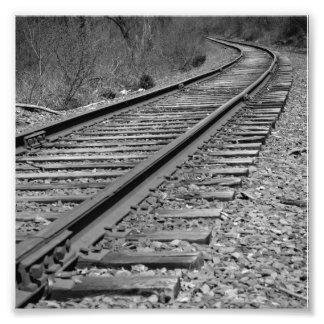 Black & White Curved Train Tracks Photograph