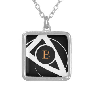 Black & White Curves (orange monogram) | Necklace