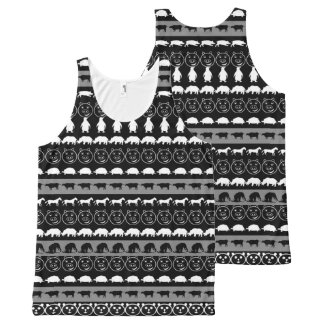 Black White Cute Animals Pattern #2 All-Over Print Tank Top