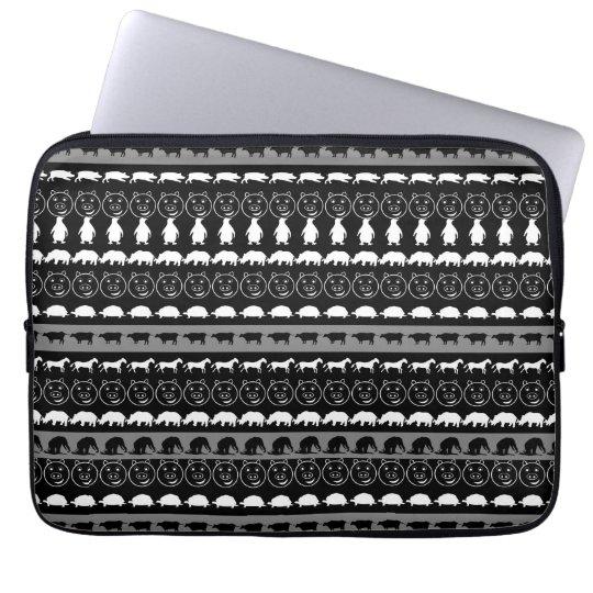 Black White Cute Animals Pattern #2 Laptop Sleeve