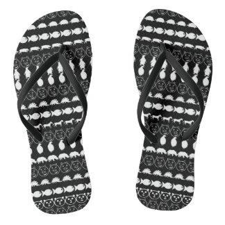 Black White Cute Animals Pattern Flip Flops