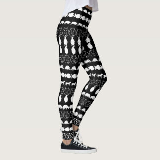 Black White Cute Animals Pattern Leggings