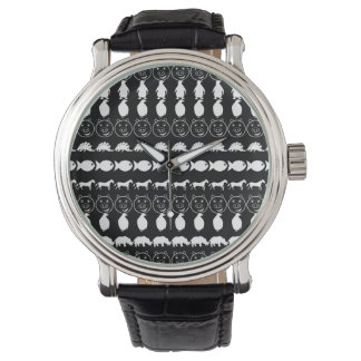 Black White Cute Animals Pattern Watch