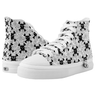 Black White Cute Skull Printed Shoes