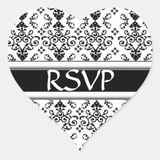 Black & White Dainty Damask RSVP Wedding Sticker