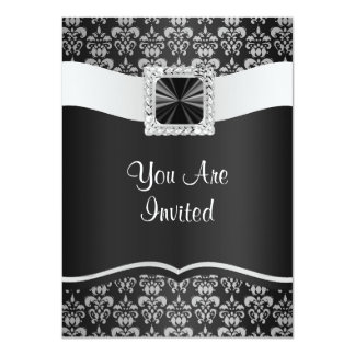 Black & white damask 11 cm x 16 cm invitation card