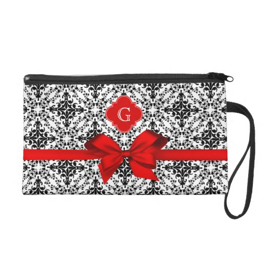Black White Damask 2 Red Label Red Bow Wristlets