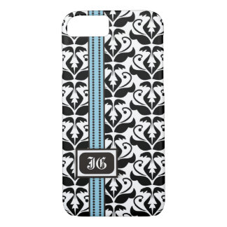Black white damask and blue band with initials iPhone 7 case