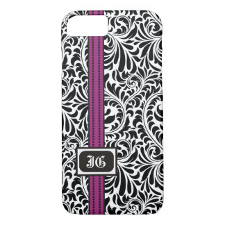 Black white damask and purple band with initials iPhone 7 case