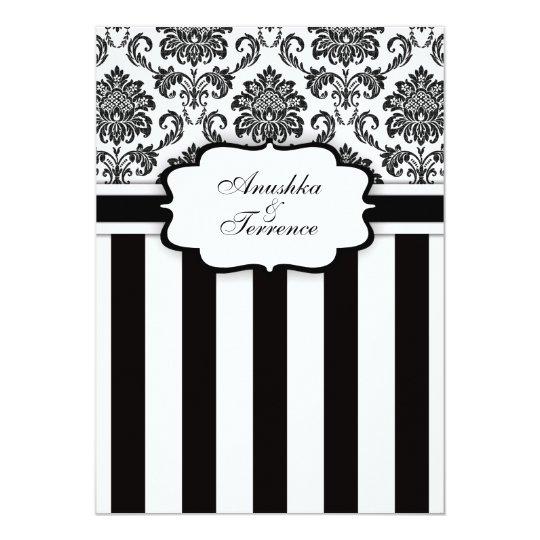 Black White Damask and Stripes Wedding Invitation
