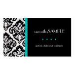 Black & White Damask, Aqua Teal Pack Of Standard Business Cards