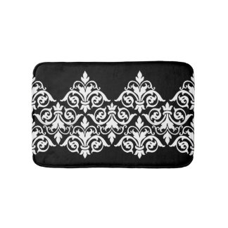 Black White Damask Bath Mat