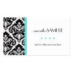 Black & White Damask Blue Pack Of Standard Business Cards