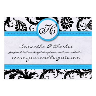Black & White Damask Bright Aqua Trim with Dots Business Card Templates