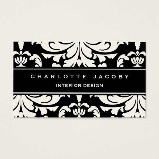 Black & White Damask Brocade Professional Style Business