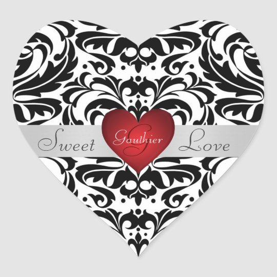 Black & White Damask Candy Buffet Heart Sticker