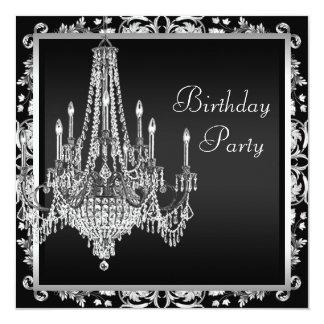Black White Damask Chandelier Birthday Party Card