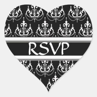 Black & White Damask Chandelier RSVP Wedding D Heart Sticker