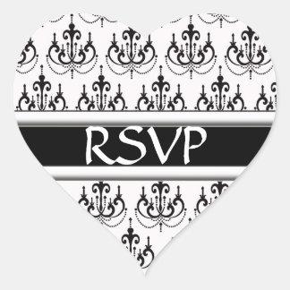 Black & White Damask Chandelier RSVP Wedding Stick Heart Sticker