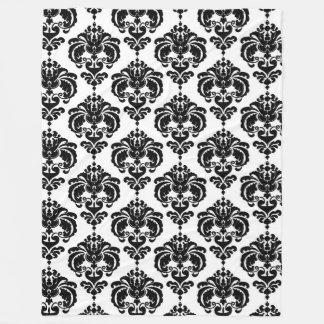 Black & White Damask Chic Modern Elegant Pattern Fleece Blanket